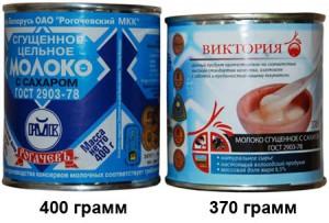Сравнение размеров банок сгущённого молока